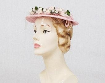 Pink 50s Tilt Hat - Pancake Hat - Vintage 1950s Pink Floral Church Hat