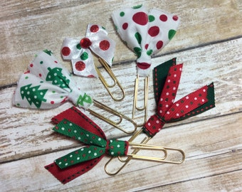 Christmas Trees & Dots - Set of 5 - Planner Clips / Bookmarks