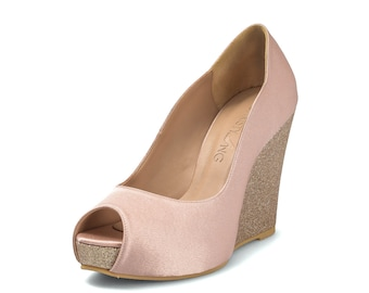 Custom Made Nude Wedge, Nude Wedding Shoe, Nude Wedding Shoe, Nude Bridal Shoe, Handmade Shoe
