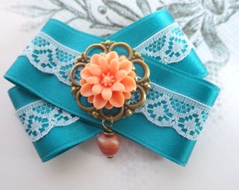 turquoise sugar rose- fabric  brooch satin ribbon, lace and a Rose Cabochon