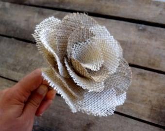 WHOLESALE 12 x Bicolor Burlap Roses With Stem - Burlap Wedding - Handmade Flowers _ Rustic Wedding Decoration - Cottage Chic - Events
