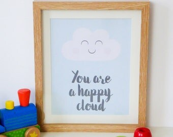 Happy cloud print. Nursery print. Kids bedroom. Bedroom decor.