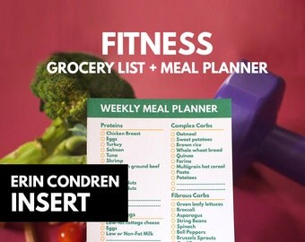Fitness Grocery List printable, Meal Planner Erin condren insert printable, Diet Planner, Fitness, menu, shopping list, GetWellPlan
