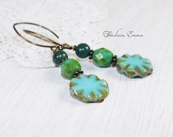 Boho earrings switch romance Emerald sea aqua green