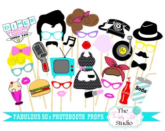 30pc * Fabulous 50's Themed Photo Booth Props/Wedding Photobooth - DIGITAL FILE