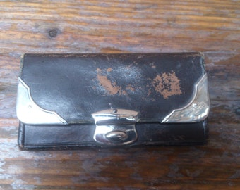 vintage sterling silver and brown leather purse/wallet