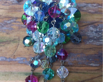 Vintage colourful glass bead waterfall brooch