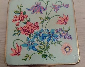 Vintage square shaped floral powder compact
