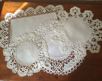 Vintage Linens Lot D, 4 Doilies, Wide Lace and Crochet Borders, Grandmas Hope Chest, Cottage, French Country, Farmhouse, Creative Spirit