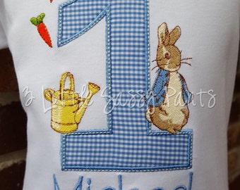 Peter Rabbit Birthday Shirt-Boys Birthday Shirt- Custom Applique Birthday Shirt- Embroidered- Peter Rabbit- 1st Birthday Shirt