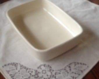 Free Shipping Vintage Haeger Pottery 3832 USA White Console Bowl Rectangular Mid Century