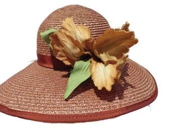 1980s Vintage BETMAR Straw Hat Wide Brim Silk Flower Union Made USA