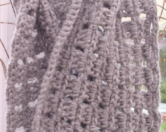 Grey recycled alpaca crochet cowl