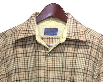 PENDLETON Vintage 70's Wool Western Shirt Men's Size M, Beige & Brown Cowboy Shirt