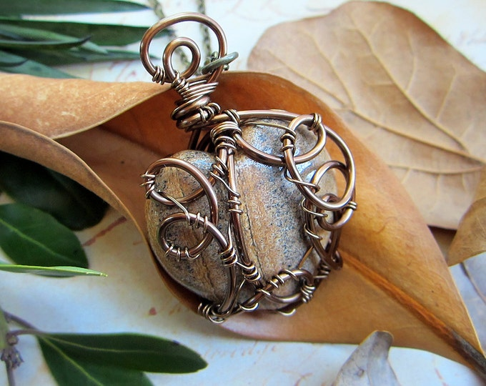 "Wire wrapped necklace ""Terra Love"" with gorgeous large smooth heart shaped picture Jasper pendant. Custom chain length."