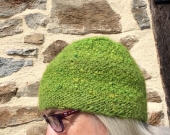 Green Tea. Toque/Hat.Flat Top. Alpaca mix. Hand dyed. Handspun. Handknit.