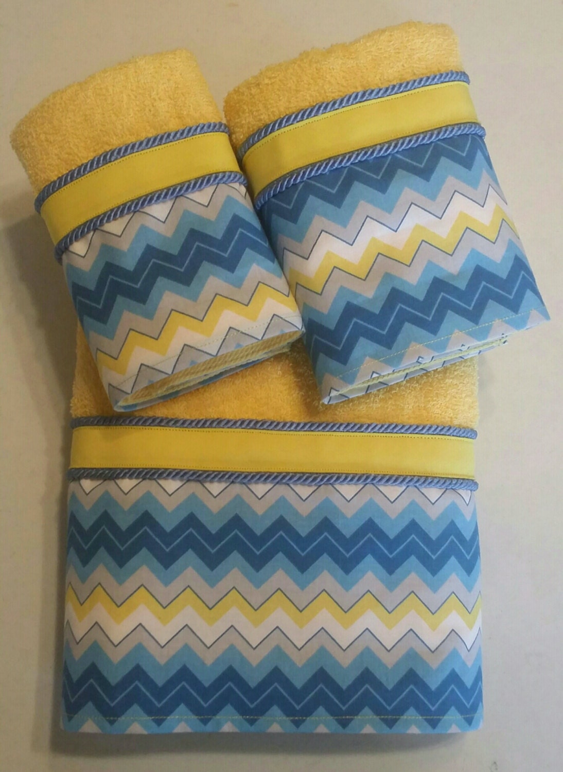 Blue yellow grey gray chevron bath towel set by ladydiblankets for Blue and yellow bathroom sets