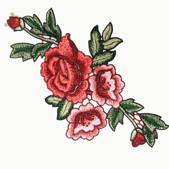 Delicate embroidered red roses flowers patches appliques for