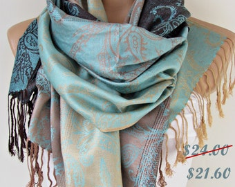 Aqua Blue Brown Pashmina Scarf Oversize Scarf Fall Winter Scarf Large Scarf Women Fashion Accessories Holiday Christmas Gift Ideas For Her