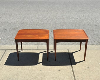 Danish Mid Century Modern Teak Side Tables(Pair) by Mobelintarsia