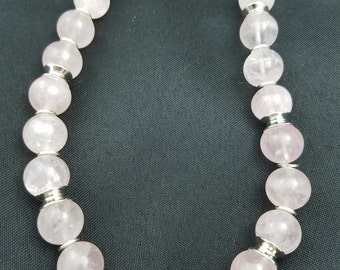 16mm Rose Quartz Beads with Silver Spacer Beads Necklace