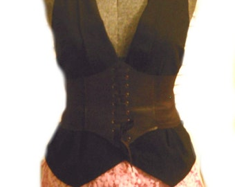 Steampunk Airship Pirate Outfit Corset Vintage Vest Crocheted shorts Crochet Choker 4pc Costume L