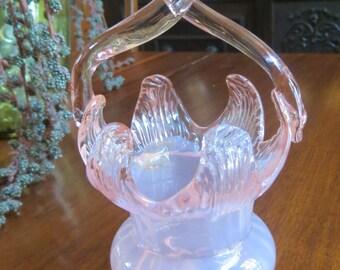 Antique Victorian Bohemian Pink Art Glass Basket