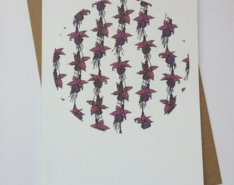 Fuchsia print greetings card