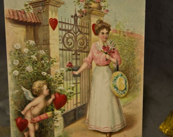 Vintage Valentine Gibson Girl at Garden Gate with Cupid