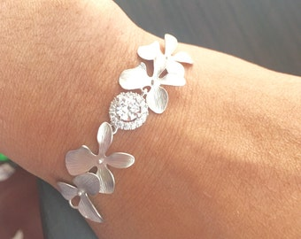 Orchid flower with round Cz crystal bracelet,flower bracelet,bridal bracelet,wedding bracelet,spring summer  bracelet,bridesmaid gifts