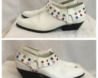 Vintage 1980's White Ankle Boots with Rhinestones