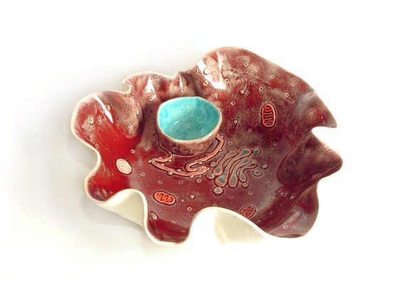 Eukaryotic cell chip and dip bowl, handmade ceramic dish, science art serving bowl