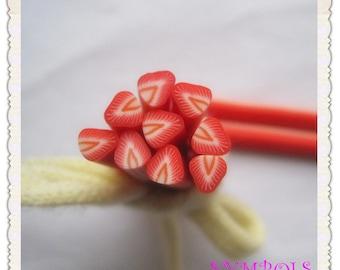 A-12 5PCS Strawberry Polymer Clay Cane Stick DIY Accessory