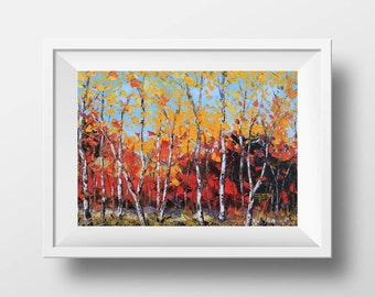 Abstract Art, Birch Tree Print, Birch Tree Art, Birch Decor, Tree Decor, Giclee Print, Fall Colors, Fall Decor, Home Decor, Palette Knife