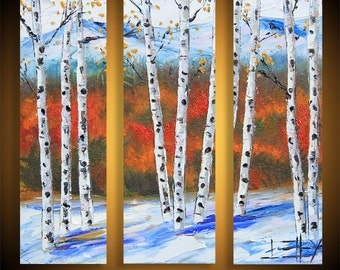 "Birch Tree Painting, Palette Knife Painting, Birch Tree, Art, Painting, Triptych, Tree Painting, MADE TO ORDER, 36x36"", Birch Tree Art"