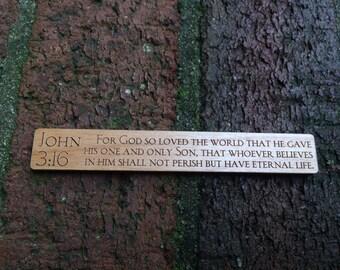 John 3:16 wood magnet