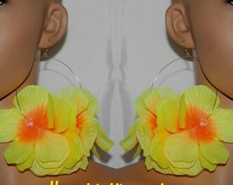 Flower earrings;Flower hoop earrings;Neon yellow earrings;Diva earrings;Neon yellow flowers;Neon color jewelry;Pierced or clip-on earrings
