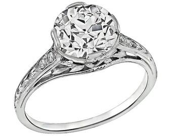 Vintage GIA Certified 2.05ct Diamond Engagement Ring