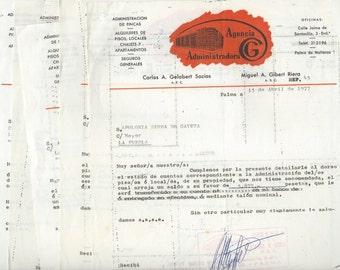 6 Vintage orange receipts from old Spain - P01