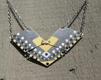 Hand Painted Brass Geometric Necklace