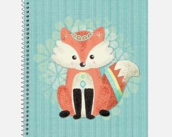 Cute Little Fox Notebook, Waterproof Cover, Woodland Animals Journal, School Supplies, Office Supplies, Fox Journal, College Ruled Notebook