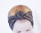 Black and white speckle knot turban headband for Baby Girls