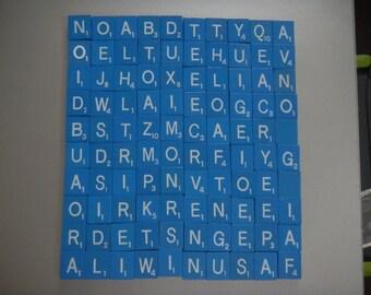 Blue Scrabble tiles letters complete set of 100 arts and crafts scrap book wedding spelling project school wood  scrapbook