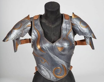 Female leather Armor, Female pauldron, Coirass female armor, vintage female armor