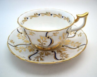 Antique Royal Chelsea tea cup and saucer,  Embossed Royal Chelsea teacup, Cobalt Blue and gold tea cup, English Fine Bone China