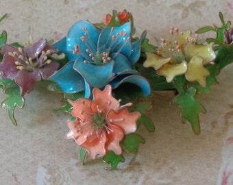 Vintage Brooch Pin Signed LOUESA Flowers Acrylic Handmade