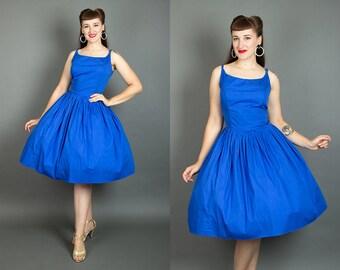 Vintage 50s Cobalt Blue Cotton Sundress   1960s Sleeveless Full Skirt Day Dress (large)