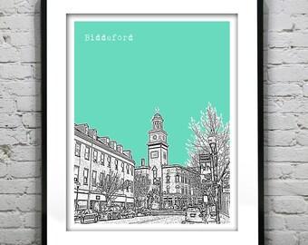 Biddeford Maine Skyline Poster Art Print ME Version 1
