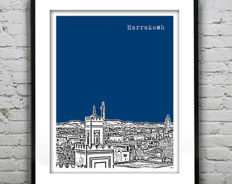 Marrakesh Marrakech Morocco Poster Art Skyline Print Version 2