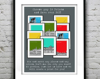 19 Pack Bundle Art Print Posters Mix and Match Your Choice any Cities, Colors, Size